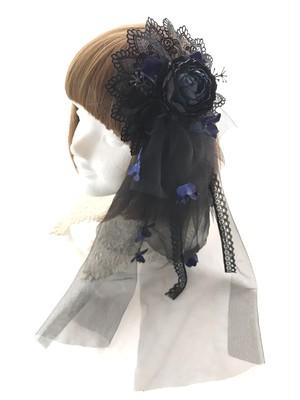 ヘッドドレス&コサージュ(BK×NV)