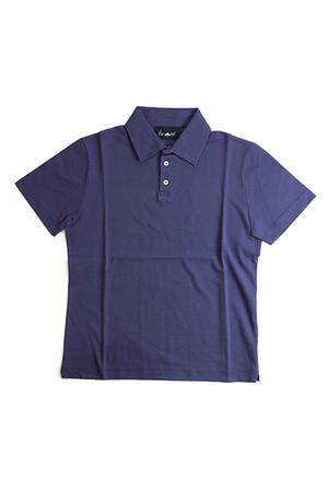 《Made in France》オリジナル 半袖 鹿の子ポロシャツ 3つ釦 〈パープル〉