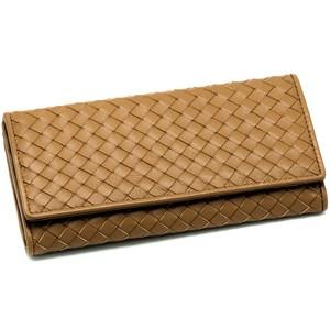 財布 イタリア製 キャメル 編み上げ