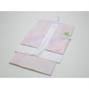日本製 二部式長襦袢(うそつき ピンク系:虹色 LLサイズ)半襦袢・裾除け・半衿付・衣紋ぬき付 [000463]
