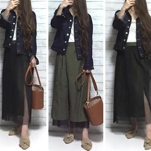 綿ツイル × プリーツ チュール リバーシブル スカート