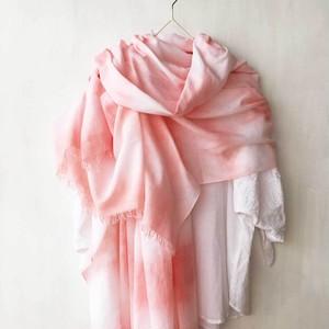 草木染 (蘇芳)|柔らかコットンショール(絞り染め・淡いピンク)