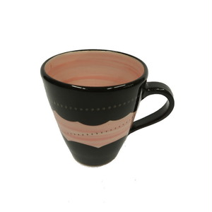小石原焼 手付きマグカップ ピンク白トビ 鶴見窯