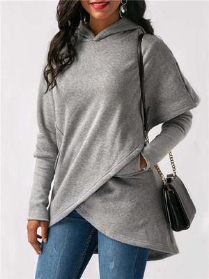 【tops】Hooded long sleeve irregular shirt