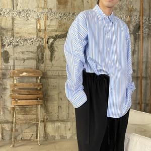 Dessin de Mode【デッサン ド モード】オーバーサイズシャツ  5DSH-01-CL (シャビーストライプ BLUE STRIPE ).