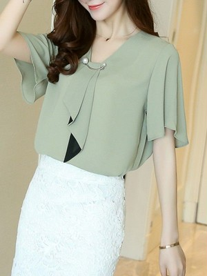 【tops】Commuter style short ribbon chiffon blouse