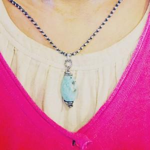 Silver Moon*愛と平和の石*ラリマーとシルバーのネックレス