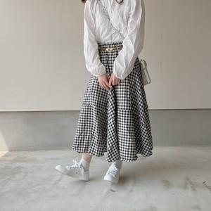 gingham check skirt[3/17n-3]