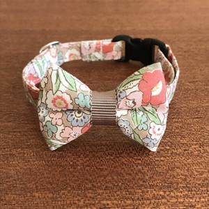 猫の首輪 リボン首輪 花柄 グログラン カフェオレ