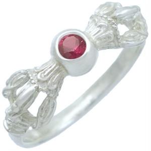 (7月)ルビー ホワイト バジュラ シルバー リング 誕生石*BR-1048