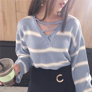 【トップス】カジュアル薄手合わせやすいVネック長袖シンプルニットセーター