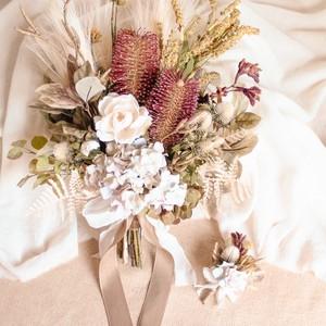 Autumn Banksia Bouquet&Boutonniere
