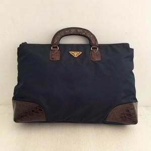 PRADA nylon × leather hand bag