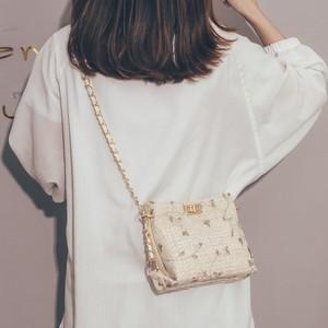 【バッグ&シューズ】少女感たっぷりレース草編みチェーン肩掛け斜め掛けバッグ19943947
