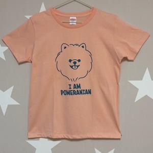 <受注制作>ふわふわポメラニアン Tシャツ <アプリコット×ラムネ> レディース、男女兼用サイズ