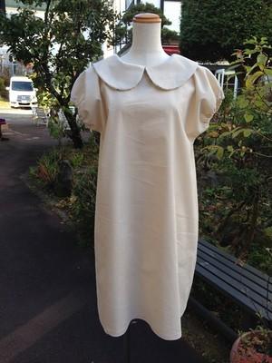 Xmasに着たい、雪のようにきれいな半袖丸襟ワンピース(コーデュロイ×色々パンダ) 一点物