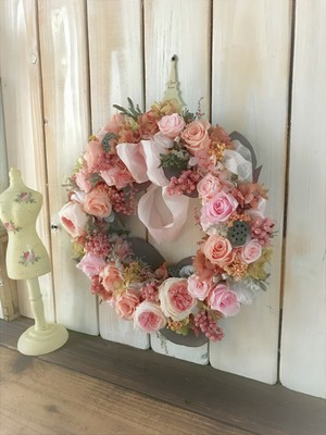 プリザーブドフラワーリース 24cm ピンク系 現品1点限り!送料無料!
