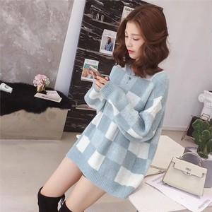 【tops】チェック柄すがすがしい2色チャーミングセーター 23010967