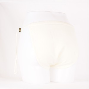 ゴムフリーパンツプレミアム イタリアソルビアッティ社製リネン 白 M~LL対応(ストッパーによる調節可能)