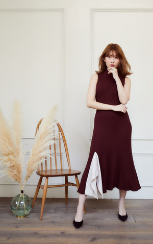 High neck Knit Long Dress