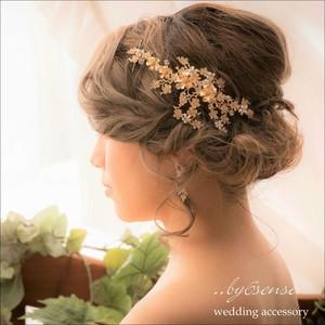ジョリ・アミィ・プティ 艶消しゴールド ~ウェディングヘッドドレス・ウェディングヘアアクセサリー~   (hd0099)