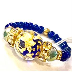 Item453R 宇宙みたいなヴェネチアンガラスのリング コバルト&ゴールド