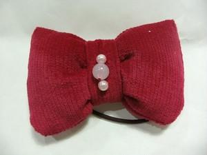布で縫い縫いヘアゴムリボン(赤)