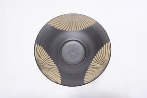 【受注生産対応】8寸パスタ皿 黒釉 クバ紋様3柄