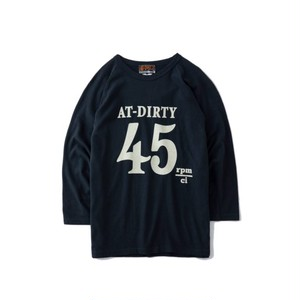 "AT-DIRTY(アットダーティー) / ""45 3/4 SLEEVE TEE"" (BLACK)"