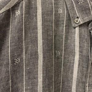 ストライプデザインシャツ コットン/リネン グレー イタリア製 メンズ 古着