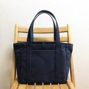 「ポケットトート」中サイズ「ネイビー(紺)×ミネラルブルー」帆布トートバッグ 倉敷帆布8号
