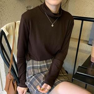 【トップス】着心地よいハイネック気質ファッション無地インナーTシャツ23890117