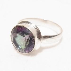 天然石ミスティックトパーズの銀張りリング size 12  指輪のセール通販 5755R