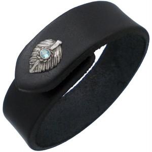 (11月)ブルートパーズ ブラック ネイディブ ハート フェザー ブラックレザー ブレスレット 誕生石*BB-1026