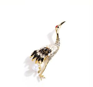 鶴とパールのブローチ☆エナメル ラインストーン