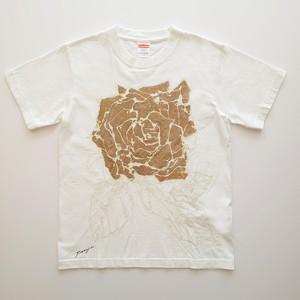 F's rose【 藤井清秀  Tシャツアート】ゴールド薔薇 S