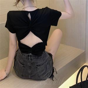 【トップス】ファッションタイト透かし彫りギャザー飾り気質よいTシャツ43636921
