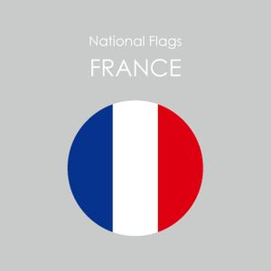 円形国旗ステッカー「フランス」