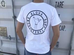 SURF ALOHA hand sign ポケットTシャツ(white)