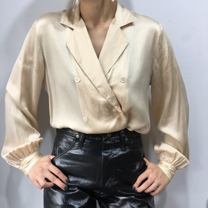 """Oleg Cassini"" tailored collar silk blouse jacket"