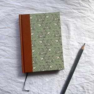 世界のプリントペーパーを使ったノート 緑地に植物模様と大きな葉っぱ