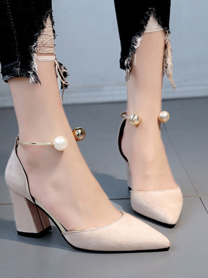 【shoes】Low mouth chunky heel single shoes