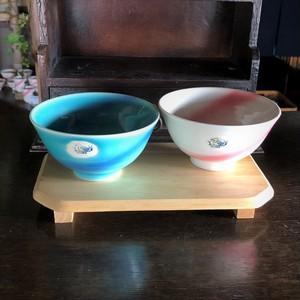 ブルー&ピンク ペアご飯茶碗セット