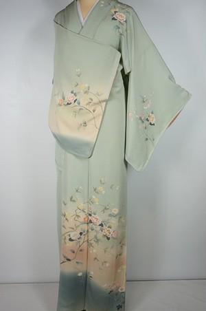 未使用 作家物 手描き友禅 訪問着 椿 菊 正絹 白緑 黄緑 447