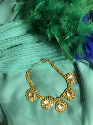 70s-80s Czech yellow Necklace ( ヴィンテージ  チェコガラス イエロー ネックレス )