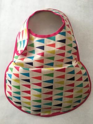 osyokuji apron【F】【ecru/flags/pink】