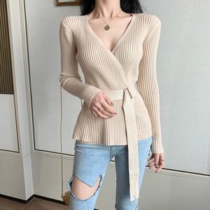【トップス】フェミニンファッションVネック収束ボウタイニットセーター