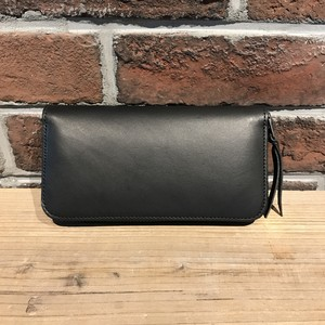 Round Zip Long Wallet Type-2 ITALY革 TEMPESTI Black
