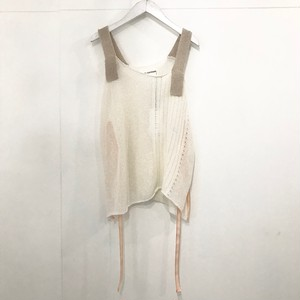 YUKI SHIMANE Blank paper knit cami white