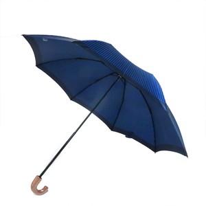 移動に便利なレインポケット付 折りたたみ傘 ストライプ/ネイビー